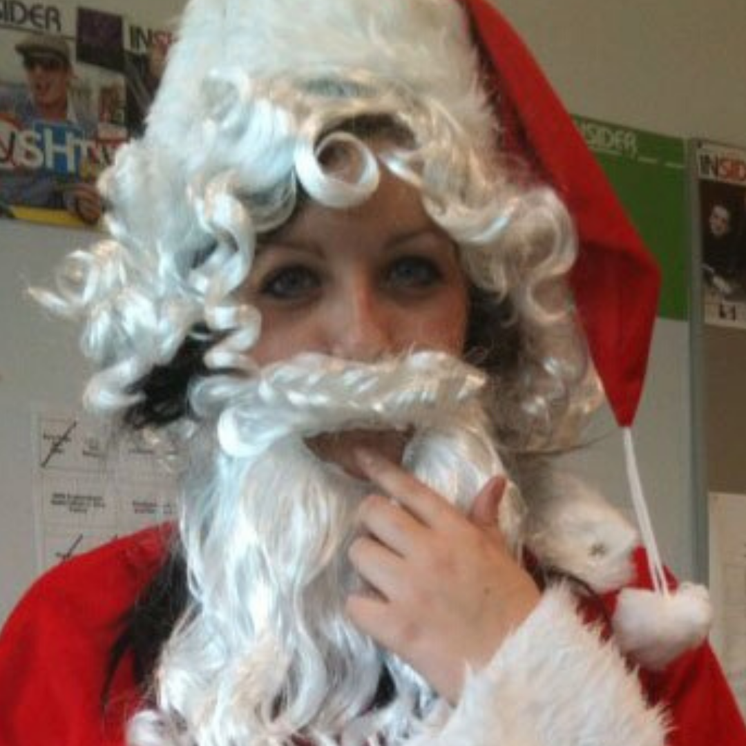 Rebecca loves Christmas so much she can't help but dress up as Santa!