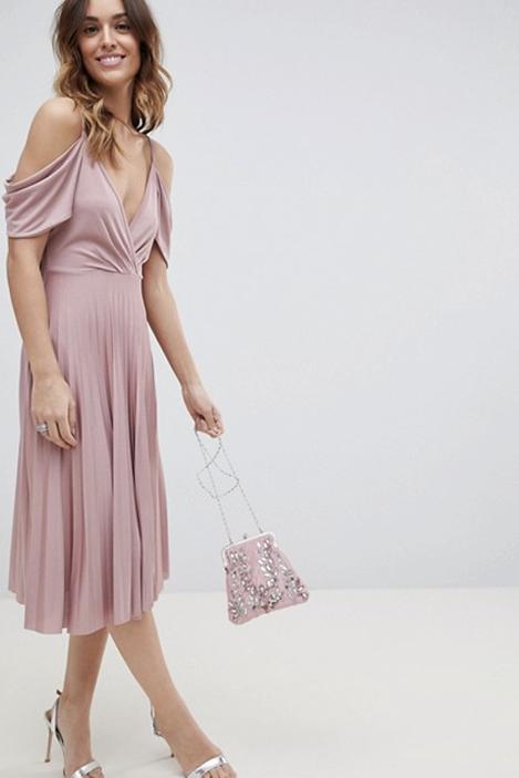 Cold shoulder pleated midi dress, £35, ASOS
