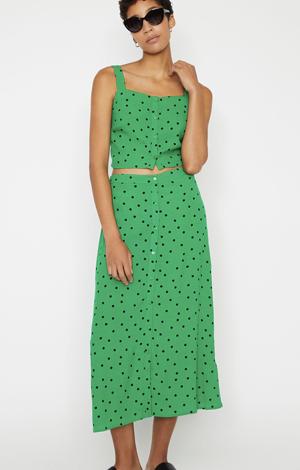 Green polka dot skirt, £42, Warehouse