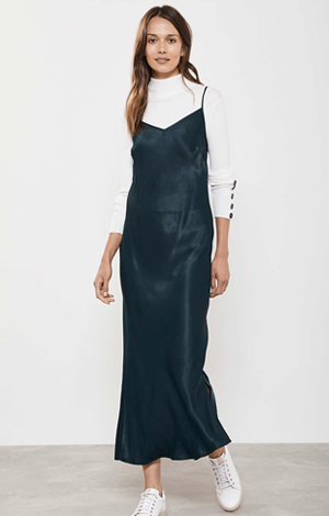 Green Satin Midi Slip Dress, £89, Mint Velvet