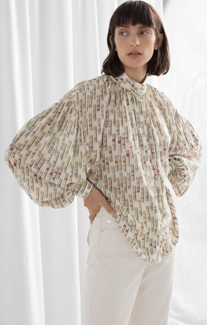 Silk Puff Sleeve Printed Blouse, £120, & Other Stories