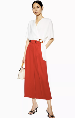 Red wide legged trousers, £29, Topshop