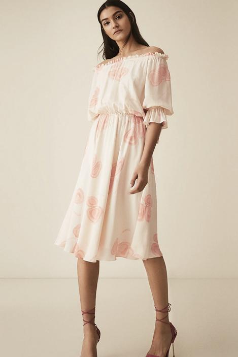 Floral bardot midi dress, £195, Reiss