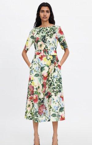 Floral print dress, £69.99, Zara