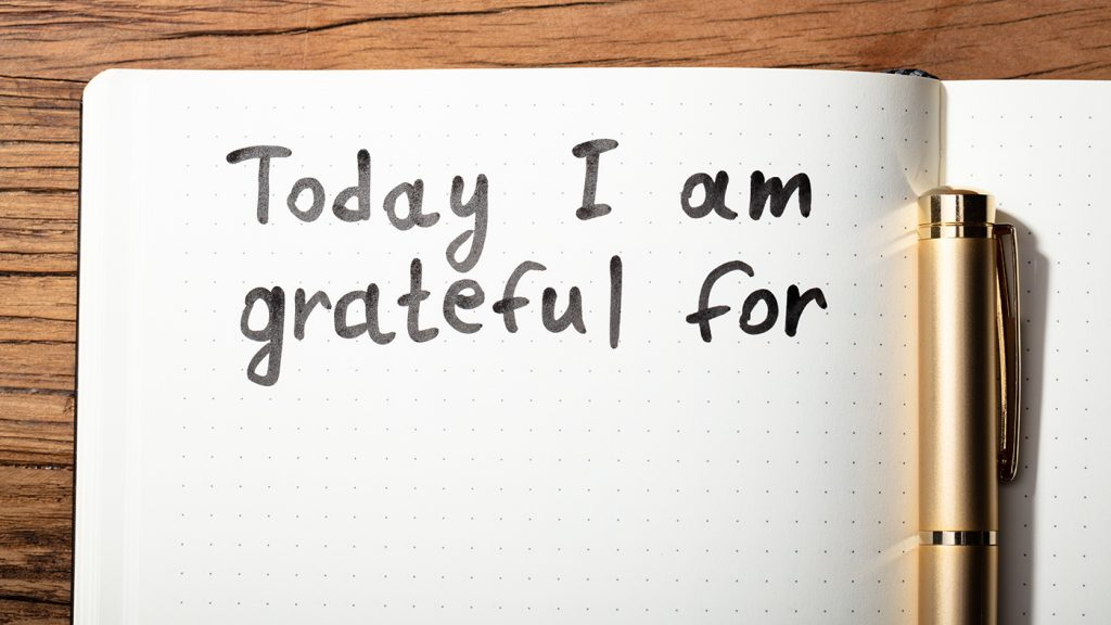 Inside a gratitude journal