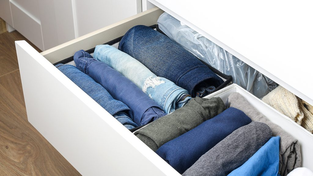 Jeans stored in the Marie Kondo way