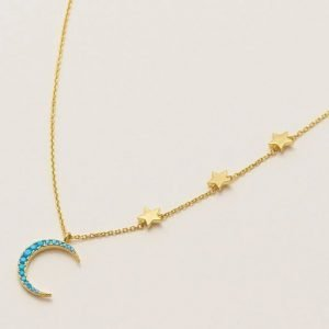 Moon and stars statement necklace