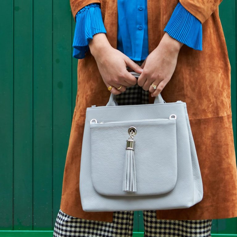 Dahlia 2-in1 Leather Tote – Grey