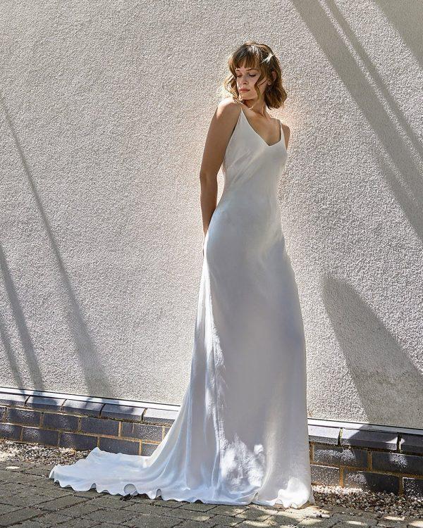 Elsa Sass, is a new wedding dress in Sabina Motasem's new vegan and sustainable wedding dress line