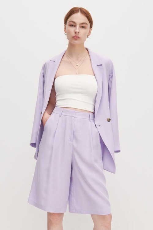 Jazz up your summer wardrobe with some lilac bermuda shorts