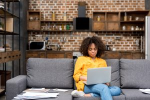 Women working from home alone