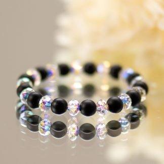 Black Frosted Onyx & Swarovski Crystal Bracelet