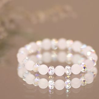 Frosted Rose Quartz & Swarovski Crystal Bracelet