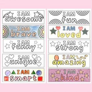 Children's Bookmarks with Positive Affirmations to Colour In – packs of 5 or 10