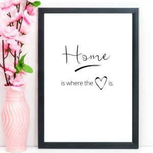 "Home Print, Quote, ""Home is where the heart is"", A4"
