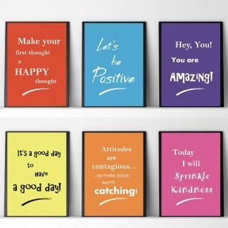 Children's Encouraging Quotes, 6 x A4 Brightly Coloured Prints