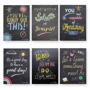 Children's Motivational Quotes, 6 x A4 Chalkboard Effect Prints