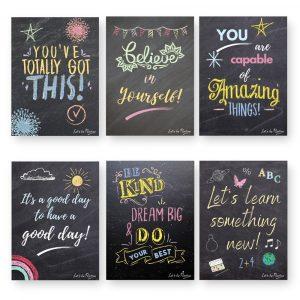 Children's Motivational Quotes, 6 x A4 Chalkboard Effect Prints
