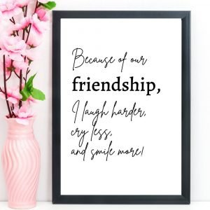 "Friendship Print, Quote, ""Because of our friendship"", A4"