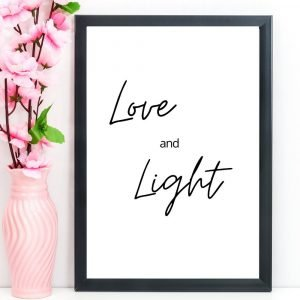 """Spiritual Print, Quote, """"Love and Light"""", A4"""