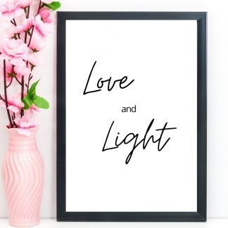"Spiritual Print, Quote, ""Love and Light"", A4"
