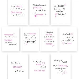 Pack of Motivational Inspiring Prints – sets of 5 or 10 A5 Quotes
