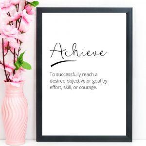 Achieve – Word Definition Print, A4