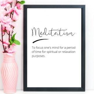 Meditation – Word Definition Print, A4