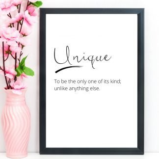 Unique – Word Definition Print, A4