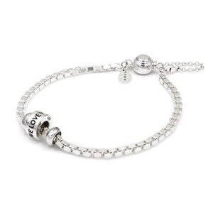 Silver Box Chain Bracelet and Bead Bundle