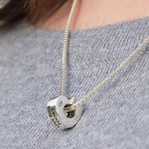 Silver Box Chain Necklace and Heart Bead Bundle