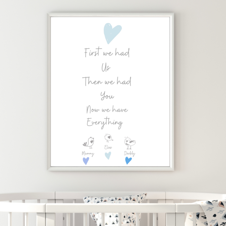 Personalised New Baby Boy A4 Print