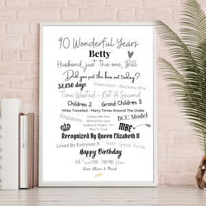 Personalised A4 Typography Print (Betty)