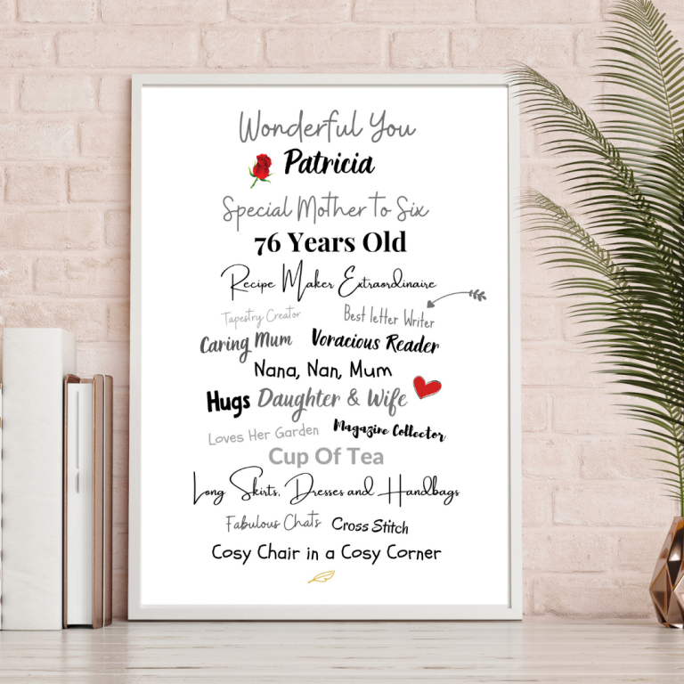Personalised A4 Typography Print (Patricia)